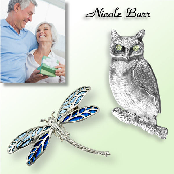 Nicole Barr Silver and Gold Brooches