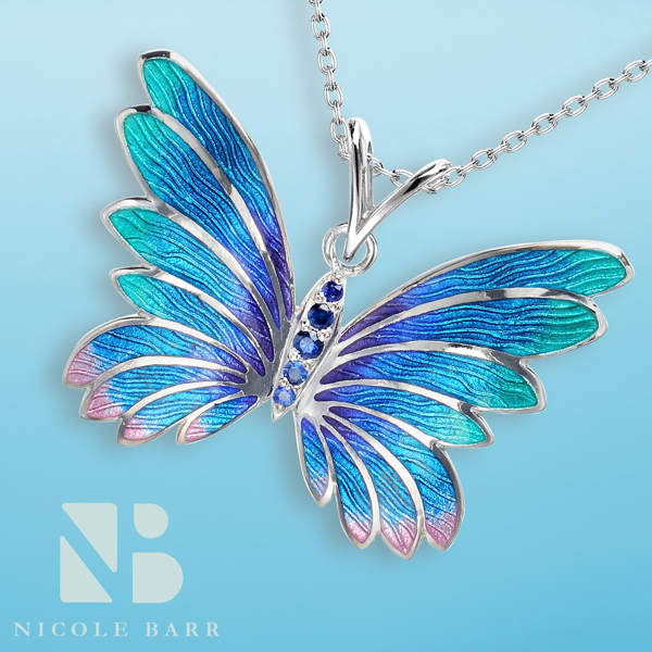 Nicole Barr butterfly pendant with blue sapphires.