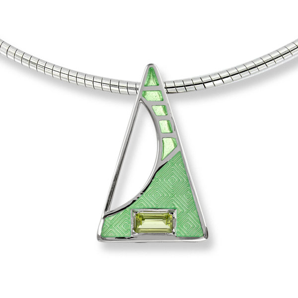 Plique a Jour enamel peridot necklace