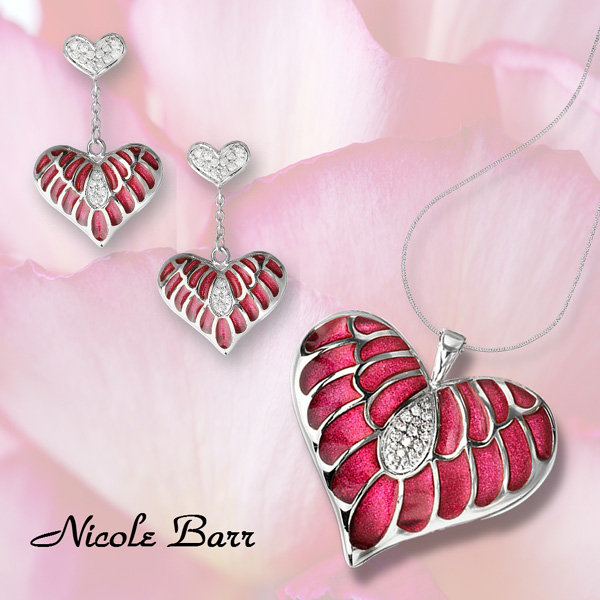 Plique a jour enamel heart jewelry by Nicole Barr