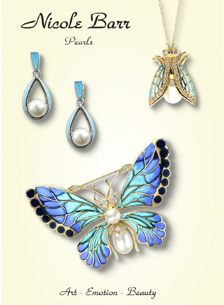 Nicole Barr - Enamel Jewelry with Pearls in 18K Gold and Sterling Silver