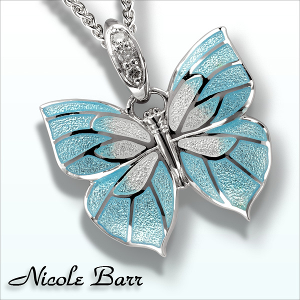NICOLE BARR BUTTERFLY NECKLACE WITH DIAMONDS