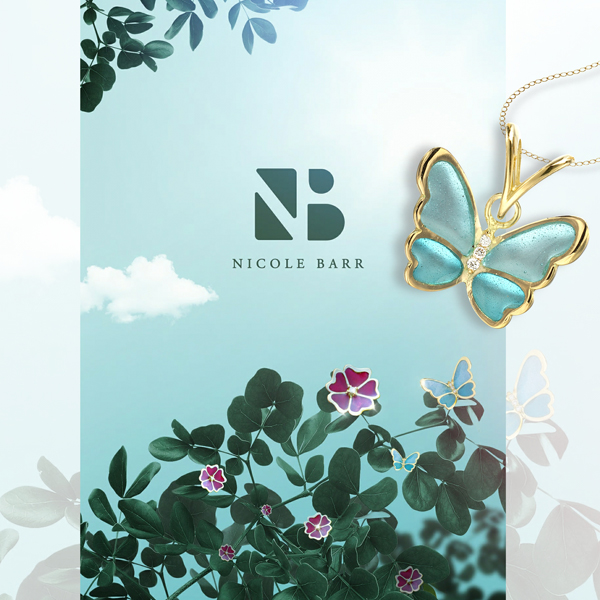 Nicole Barr butterfly and flower jewelry.