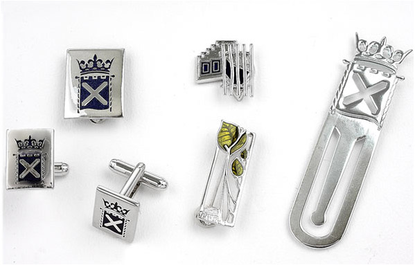 The Scottish Parliament - Enamel Cufflinks, brooch, lapel pin and bookmark