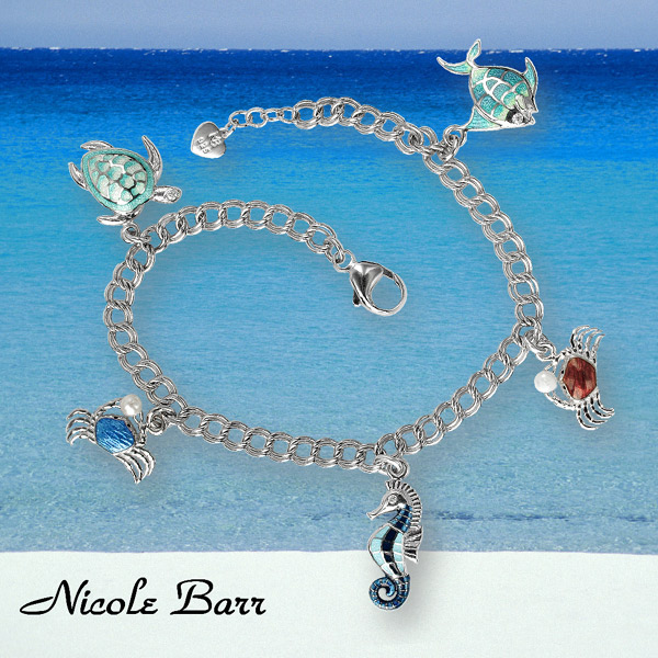 nicole barr ocean treasures bracelet - crab, seahorse, sea turtle, angelfish