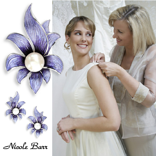 Nicole Barr enamel brooches and pins for occasionwear