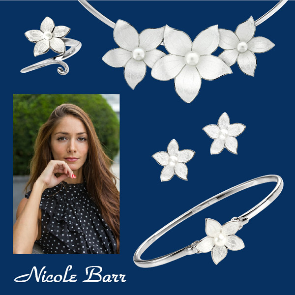 Nicole Barr Stephanotis silver jewelry with pearls.
