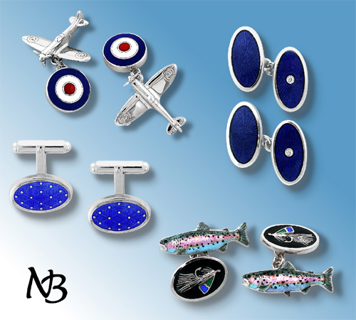Enamel and Sterling Silver Cufflinks for Father's Day
