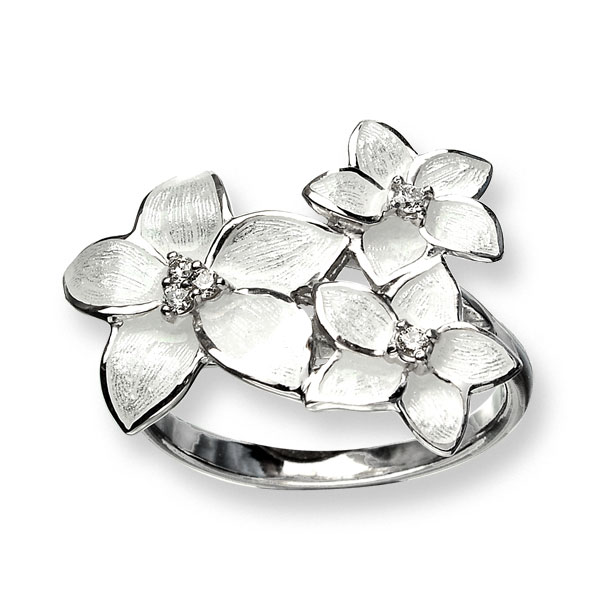 Nicole Barr white enamel bridal floral ring