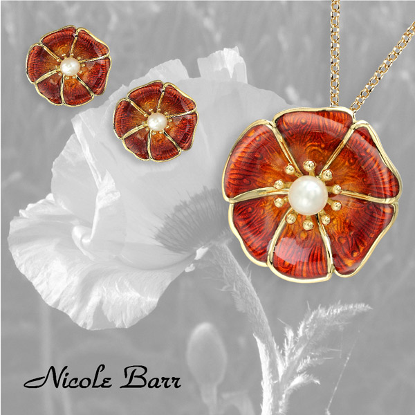 Nicole Barr Poppy Earrings and Necklace in 18KT gold with pearls.