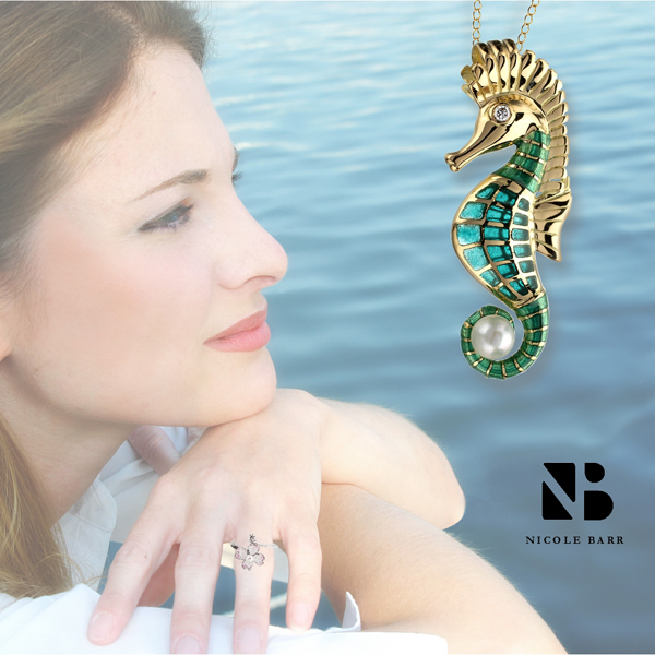 gold and silver jewelry with akoya pearls - seahorse and dogwood