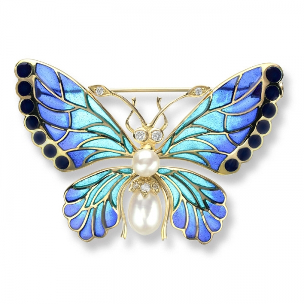 18kt gold plique a jour butterfly brooch