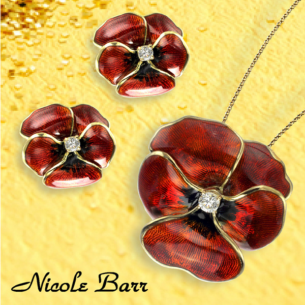 Pansy Earrings and Pendant in 18kt Gold with Enamel and Diamonds