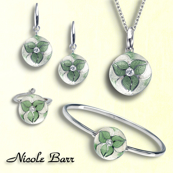 Trillium earrings, bangle, ring and necklace by Nicole Barr